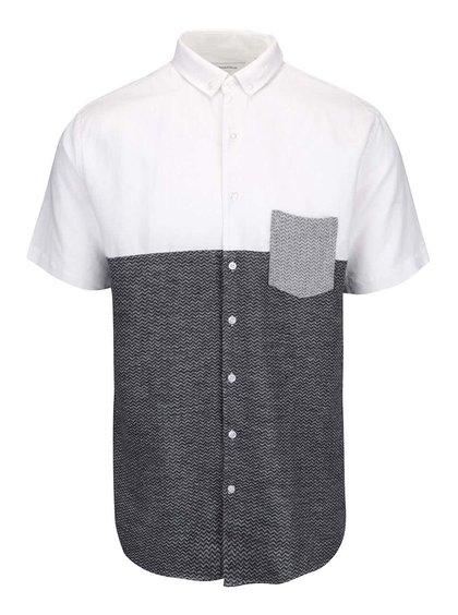 Bílo-šedá pánská košile s krátkým rukávem Lindbergh