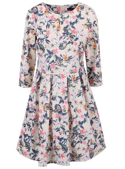 Krémové kvetinové šaty s 3/4 rukávom Smashed Lemon