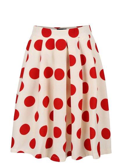 Krémová skládaná sukně s červenými puntíky Smashed Lemon