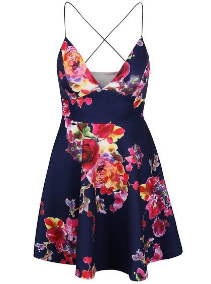 Tmavě modré šaty s květy AX Paris