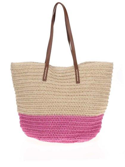 Béžovo-ružová slamená taška Dorothy Perkins