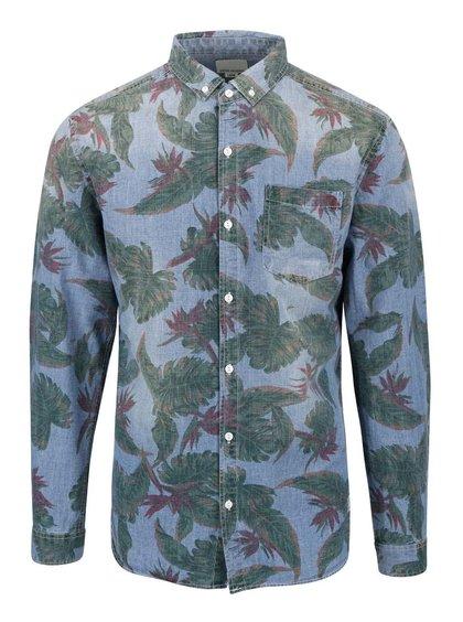 Modrá košile s potiskem listů Shine Original