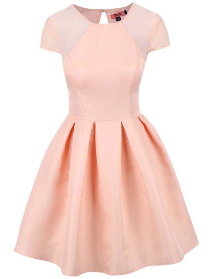 Marhuľové šaty so skladanou sukňou Chi Chi London Olympia