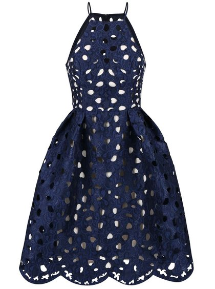 Tmavě modré šaty s vypalovanou krajkou Chi Chi London Nessa