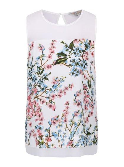 Bílá květovaná halenka bez rukávů Dorothy Perkins