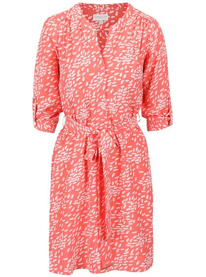 Rochie Apricot corai cu imprimeu
