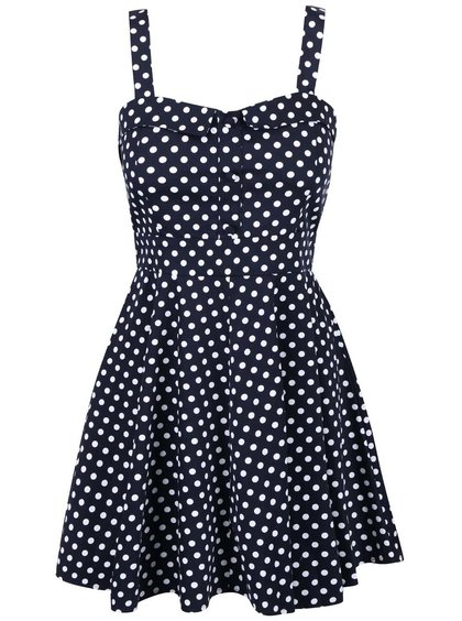 Tmavě modré šaty s bílými puntíky Apricot