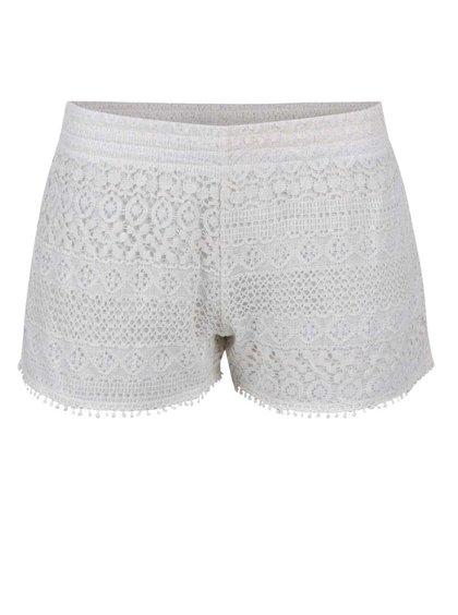 Pantaloni scurţi Haily´s Sharon crem din dantelă