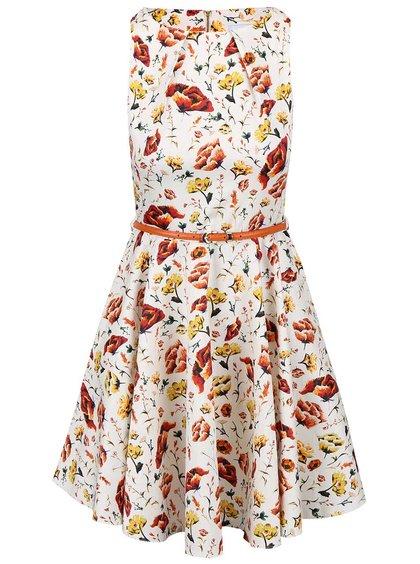 Krémové kvetinové šaty s oranžovým opaskom Closet