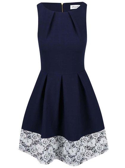 Tmavomodré šaty s čipkovaným lemom Closet