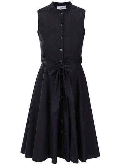Čierne šaty bez rukávov a na gombíky Closet