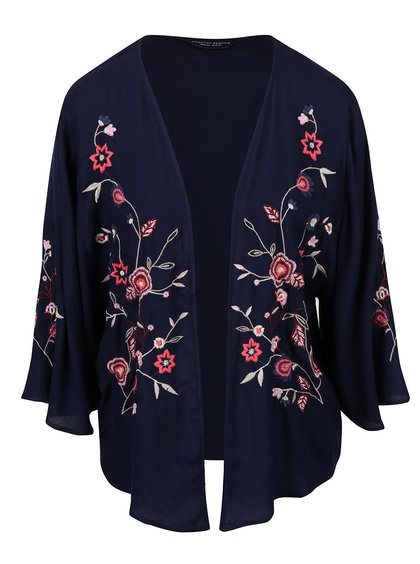 Tmavomodré kimono s vyšívanými kvetmi Dorothy Perkins