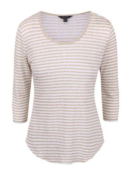 Krémovo-béžové dámske ľanové pruhované tričko s 3/4 rukávom Nautica