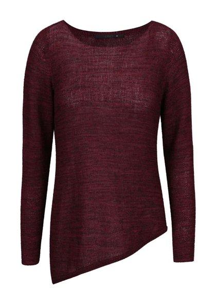 Vínový žíhaný asymetrický svetr ONLY Cicely