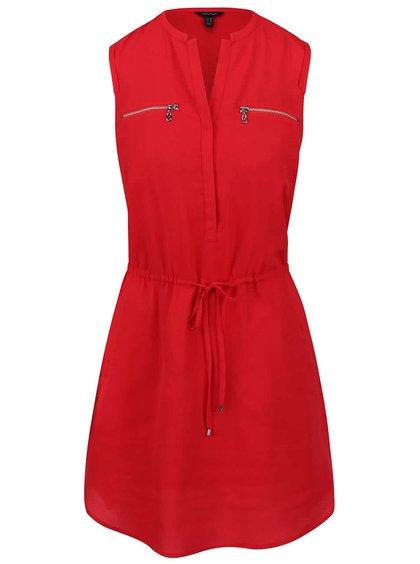 Červené šaty bez rukávů se stahováním v pase Nautica