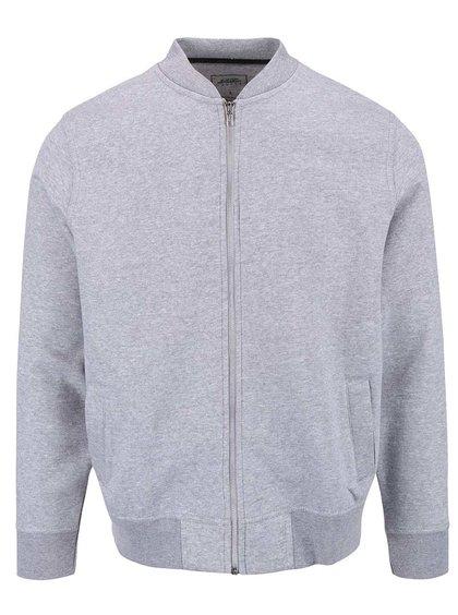 Šedá mikinový bomber na zip ve stříbrné barvě Burton Menswear London