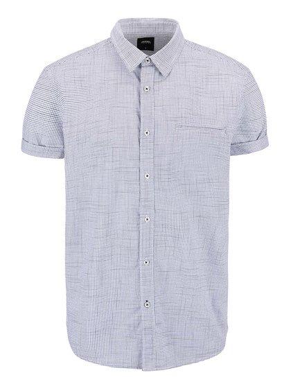 Modro-krémová kockovaná košeľa s krátkym rukávom Burton Menswear London