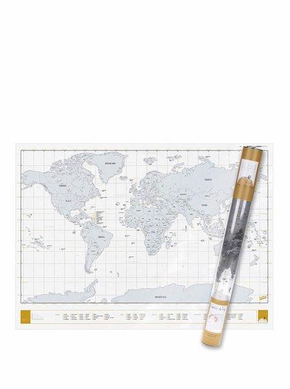 Veľká stieracia mapa sveta Luckies Clear Edition