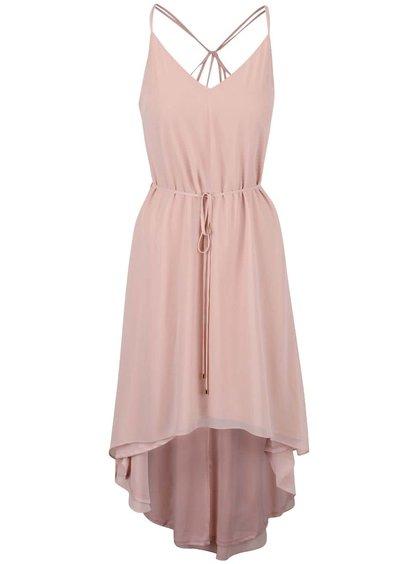 Svetloružové šaty so šnúrkou v páse Miss Selfridge