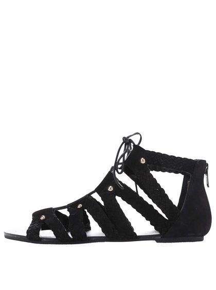 Černé semišové šněrovací sandály Miss Selfridge