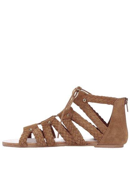 Hnedé semišové šnurovacie sandále Miss Selfridge