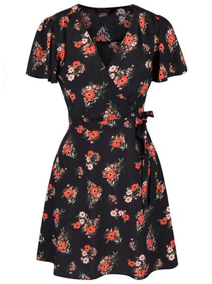 Černé šaty s květy Miss Selfridge