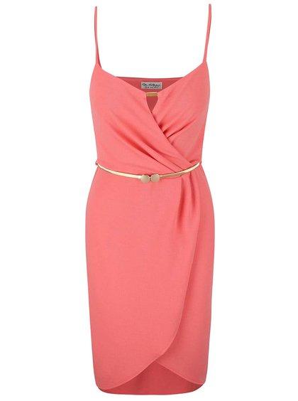 Ružové šaty s opaskom v zlatej farbe Miss Selfridge