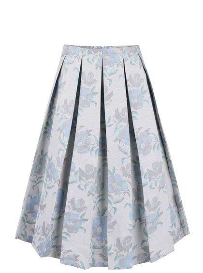 Sivá midi sukňa so vzorom kvetín Miss Selfridge