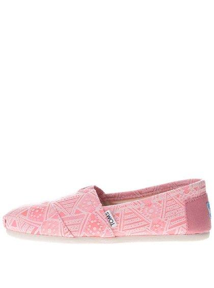 Neónovo ružové dámske vzorované loafers Toms