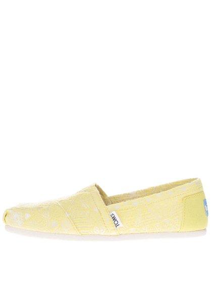 Neónovo žlté dámske loafers Toms