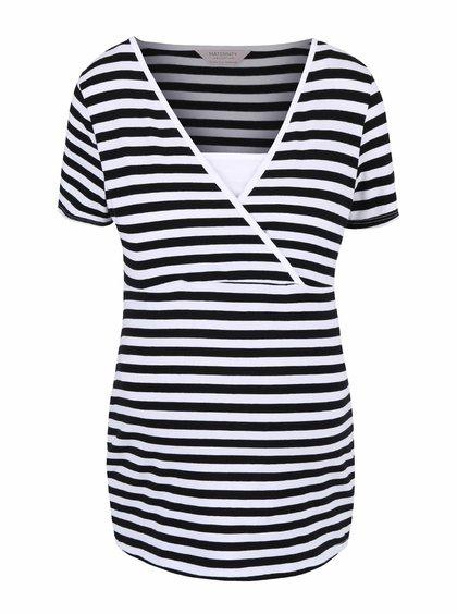 Čierno-biele tehotenské tričko so vsadkou Dorothy Perkins Maternity