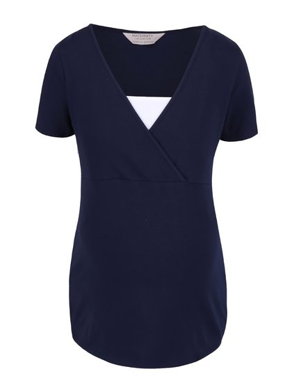 Modré tehotenské tričko s bielou vsadkou Dorothy Perkins Maternity