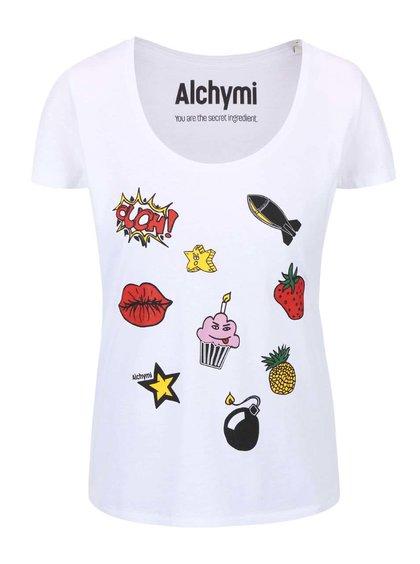 Biele tričko s potlačou Alchymi