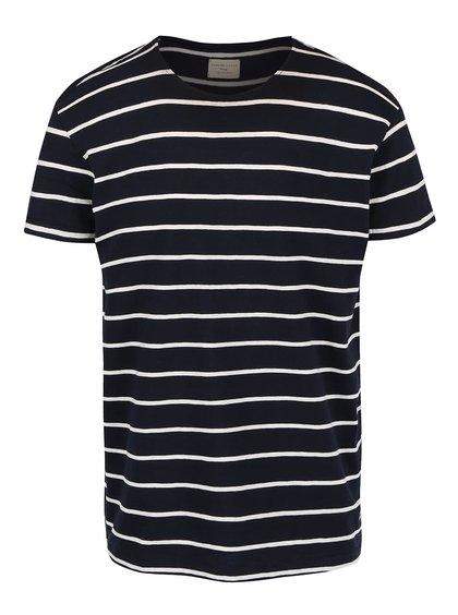 Tricou cu dungi Selected Homme Garret albastru închis