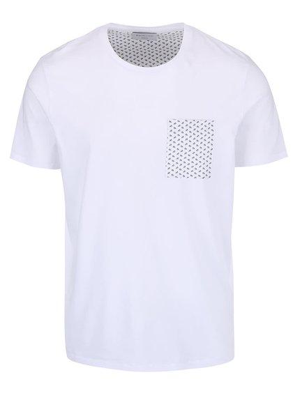 Bílé triko s kapsou Selected Sotan