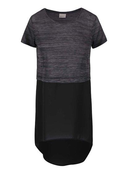 Černo-šedé dlouhé tričko VERO MODA Juca