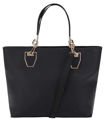 Černá kabelka do ruky s detaily ve zlaté barvě Gessy