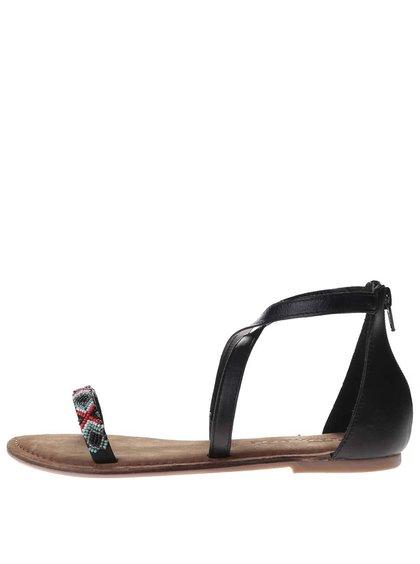 Černé kožené sandály s barevným páskem Tamaris