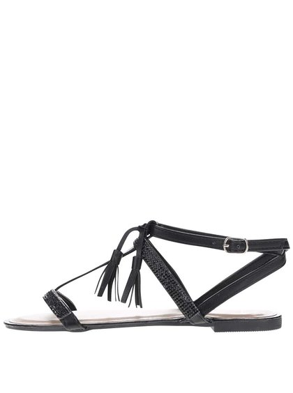 Sandale de damă Jenny Haily's negre cu franjuri