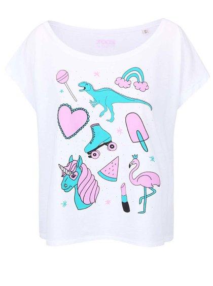 Bílé dámské volnější tričko ZOOT Originál Unicorns