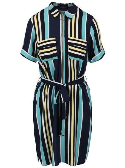 Tmavomodré šaty s farebnými pruhmi a zipsom Dorothy Perkins