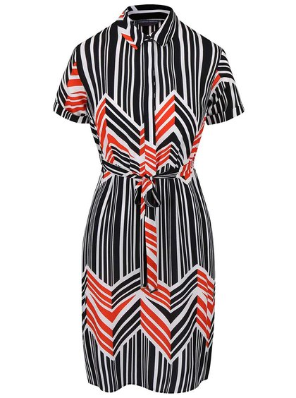 Krémovo-čierne pruhované šaty s mašľou Dorothy Perkins Petite