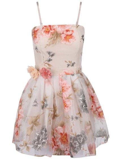 Krémové šaty s farebnou kvetovanou potlačou Anna Smith
