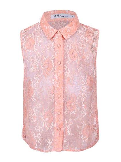 Světle růžová krajková halenka bez rukávů Anna Smith