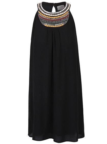 Černé šaty s ozdobným dekoltem VERO MODA Zura