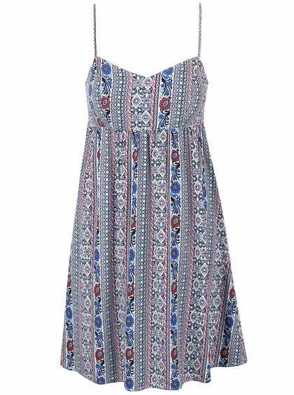 Krémovo-modré květované šaty ONLY Nova