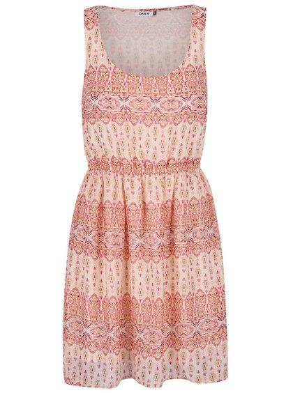 Krémovo-růžové vzorované šaty ONLY Devina