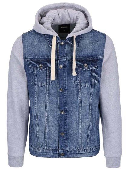 Šedo-modrá džínová bunda s bavlněnými rukávy a kapucí Burton Menswear London