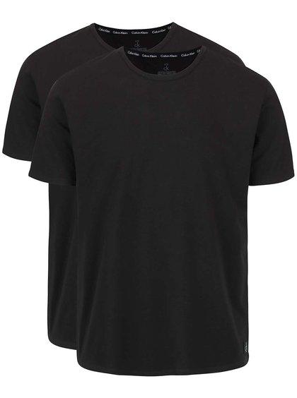 Sada dvou pánských černých trik s kulatým výstřihem Calvin Klein