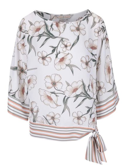 Krémové kvetinové kimono s pruhovaným lemom Dorothy Perkins